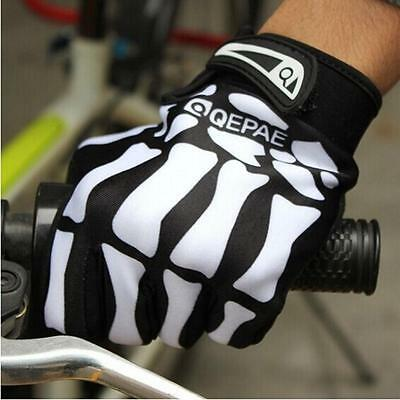 UK Cool Men Sport Cycling Motorcyle Skull Skeleton Gloves Mittens M/L/XL Outdoor