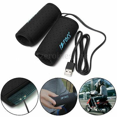 2PCS Motorcycle USB Electric Hot Heated Grips Handle Handlebar Warmer Heater