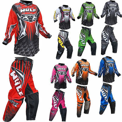 Wulfsport Cub Arena Race Kids Junior Motocross MX Jersey Shirt + Pants Suit 2016