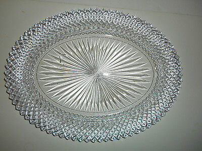 "Nice Crystal Miss America 12.25"" Oval Serving Platter by Anchor Hocking"
