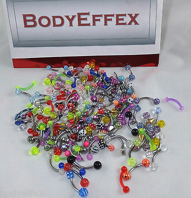 Assorted Wholesale Lot Of 100 Surgical Steel & Acrylic Curve Rings Body Jewelry