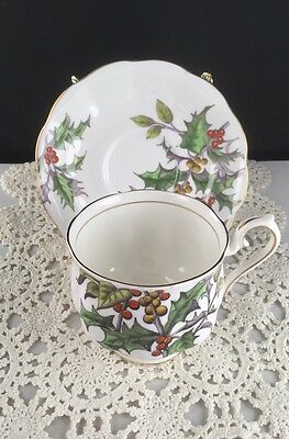 """Royal Albert Flower Of The Month """"Holly"""" December Tea Cup & Saucer England  #568"""