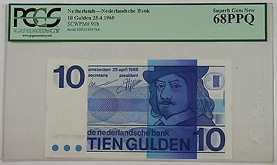 25.4.1968 Netherlands 10 Gulden Note SCWPM# 91b PCGS 68 PPQ Superb Gem New