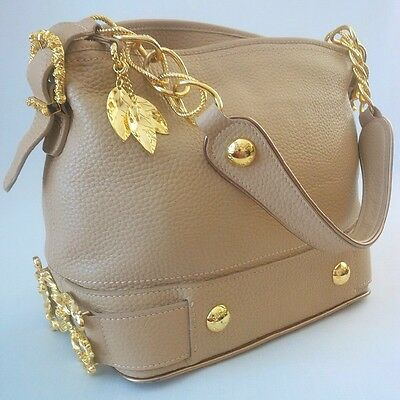 Dolce & Gabbana Pebbled Leather Baroque Handbag Tan Beige Made In Italy - Xlent