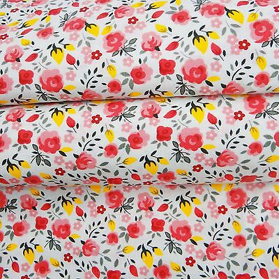 "Floral Printed Dressmaking White Cotton Fabric For Quilting 43"" Wide By 1 Yard"