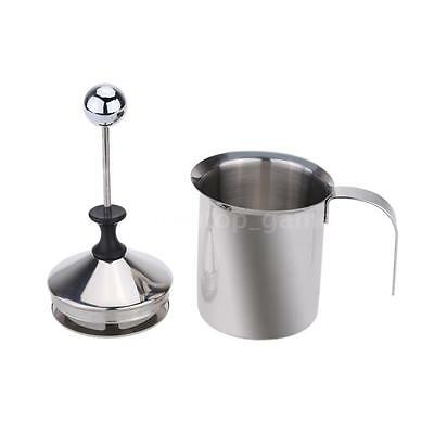 Stainless Steel Coffee Cappuccino Milk Frother Whisk Mixer With Stand Foam O5GU