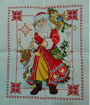 "New Completed finished cross stitch needlepoint""CHRISTMAS SANTA""home decor gifts"