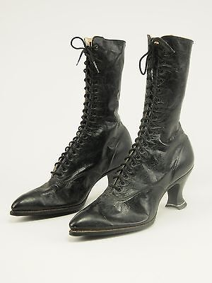 Unworn Early-1990s Antique VICTORIAN Leather Calf-hi Lace boots 7 - 7.5 Narrow