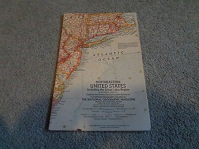 """April 1959 National Geographic Map Insert """"Northeastern United States"""""""