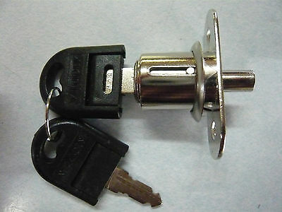 PUSH LOCK - **4 PACK**  chrome, plunger style  w/ 2 keys,  KEYED DIFFERENT!