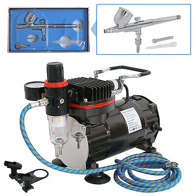 New Beginner Dual-Action AIRBRUSH AIR COMPRESSOR KIT SET Craft Cake Hobby Paint