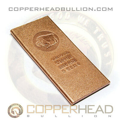 1 Pound lb (16 oz) American Buffalo Copper Bullion Bar Matte Finish Bison 10-20