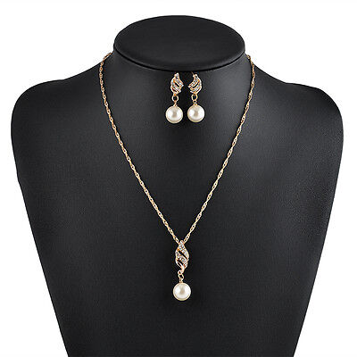 Bridal Bridesmaid Wedding Party Jewelry Set Crystal Pearl Necklace Earrings Hot