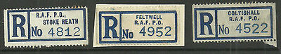 Great Britain Registered Labels X3 Stoke Heath Feltwell Coltishall Raf Po