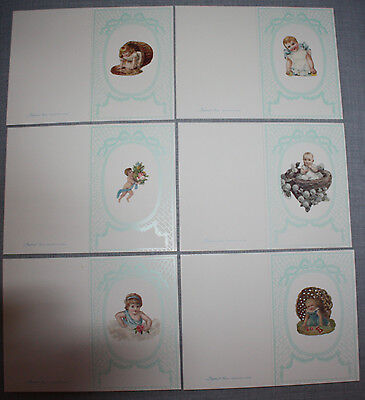 6 Victorian Style Baby Cards Menu Cards Cute Kids Old New Stock