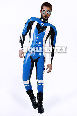 Rubber Latex Moto Suit Great Catsuit with Custom Logo and Letter