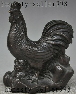 """7""""chinese fengshui bronze animal zodiac year Cock Rooster Chicken wealth statue"""