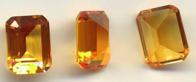 Yellow Sapphire Emerald-Cut  11mm x 9mm  Yellow/Orange