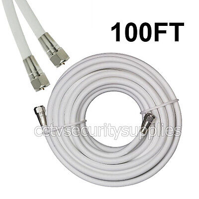 New 100FT WHITE RG6 Coax Coaxial HD Satellite Dish Cable TV Antenna Wire Cord