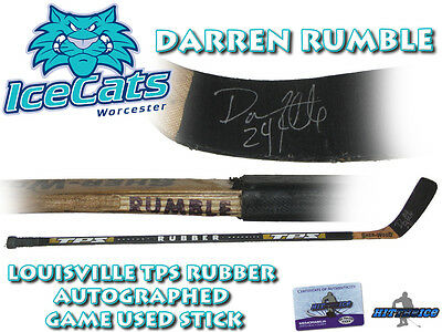 DARREN RUMBLE Signed Game Used Stick WORCESTER ICE CATS / OTTAWA SENATORS -w/COA
