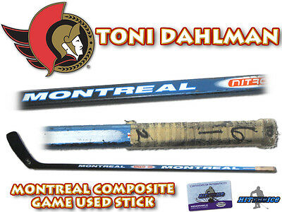 TONI DAHLMAN Game Used Stick OTTAWA SENATORS - w/COA HOLOGRAM