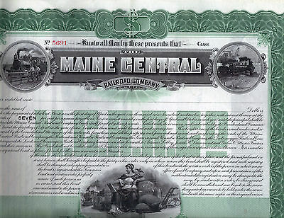 1872 Maine Central  RR Stock Certificate ( Consolidation Bond)