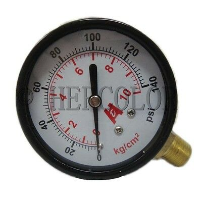 "2.5"" 60mm Brass Pressure Gauge 0-10bar(140psi) Manometer PT1/4"" Thread"