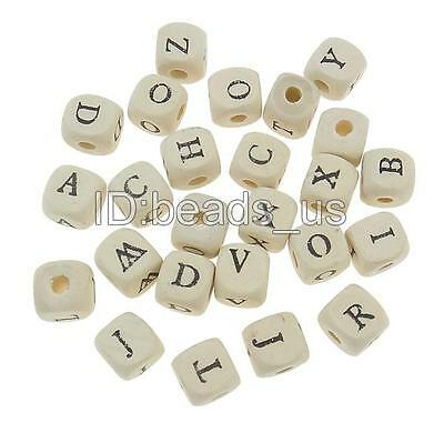 100pcs Black letter pattern on four sides Cube white Loose Wood Beads 10mm