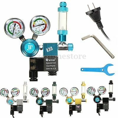 Aquarium Planted CO2 Pressure Regulator Magnetic Valve Solenoid Bubble Counter F