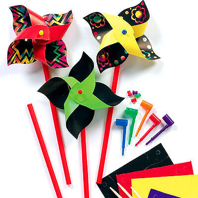 Scratch Art Windmills, Kid's Design and Make Craft Activity (Pack of 8)
