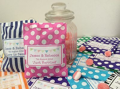 PERSONALISED Sweet Candy Bags - Wedding Favours/Birthdays/Party Bunting Bags