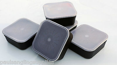 5 x 2.2 pint standard Fishing square bait boxes for maggots , corn meat etc