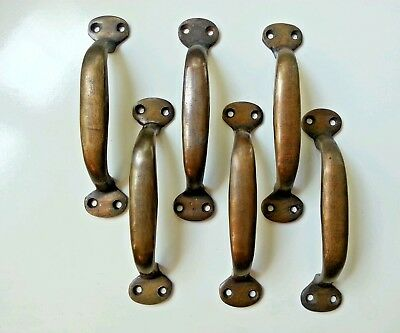 6 Solid Brass Large Ant. Style Strong File Cabinet Trunk Chest Handles Gate #P1