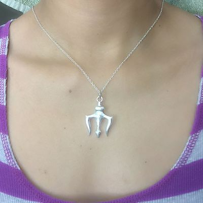 Percy Jackson inspired Silver Trident Charm with Silver Chain Necklace.