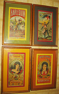 4 Antique 1890s A Hoen & CO Lithograph Tobacco Posters Belle Crusader Black Swan
