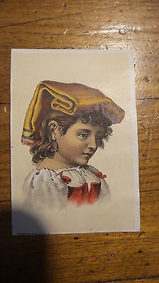 Antique Victorian Litho Card GIRL WITH UNUSUAL HEAD GARB Sunshine Pub.