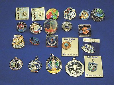 Random Lot of 20 NASA Space Enamel Pins & Charms-Launches, Space Missions etc
