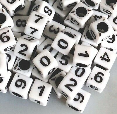 5mm White Black Acrylic Cube Number Beads spacer (100 pcs)