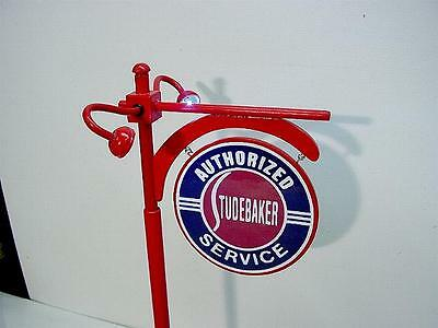 "Crafted 1-18 Scale Lit Up Studebaker Dealer Pole Sign Display 14"" Tall Garage"