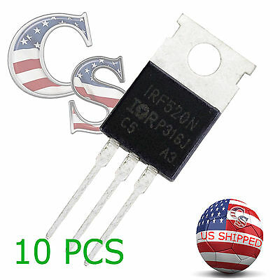 5 Pcs IRF520 IRF520N TO-220 N-Channel IR Power MOSFET US SHIP