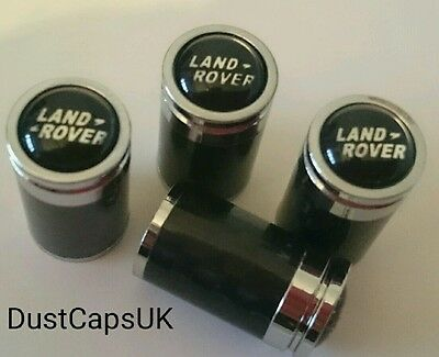 LAND ROVER Carbon Fibre Valve Dust Caps Car Tyre Wheel Cover Set 4 Black Chrome