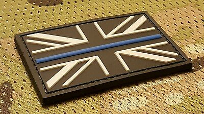 3D Pvc Thin Blue Line Uk Flag United Kingdom Police Badge  Morale Patch