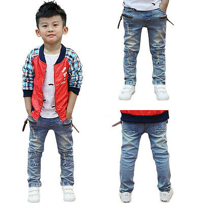 New Toddler Kids Baby Boy Ripped Jeans Straight Denim Jean Pants Skinny Trousers