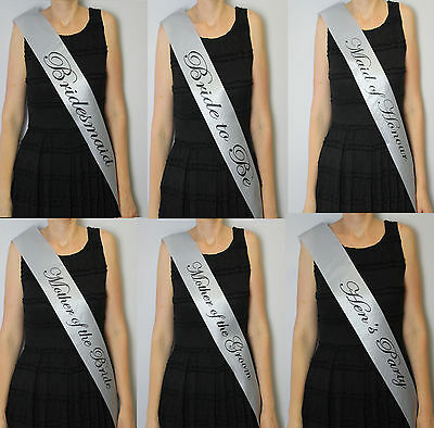 Hens night Party Bride to Be Bridesmaid Maid of Honour Sash Wedding Silver Fancy
