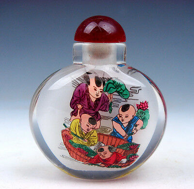Peking Glass Inside Reverse Hand Painted Kids Playing Snuff Bottle #01021608