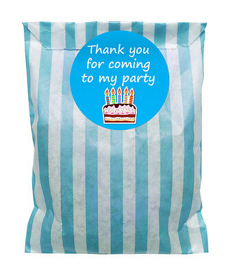 Blue & white paper party bags & 60mm birthday cake stickers - 24 of each in pack