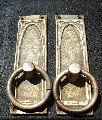 "2 vintage antique brass handles ring shaped and ornate 3 1/4""tall x 1""wide #H36"