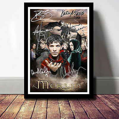 Merlin Cast Signed Autograph Print Poster Photo Bbc Tv Show Series Season Dvd