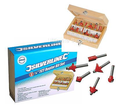 "1/4"" Shank TCT Router Cutter Bit Set with Wooden Case Silverline 12 Pce Groove"