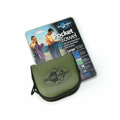 Sea to Summit Microfibre Pocket Towel for Camping Hiking Outdoor - L / Eucalypt